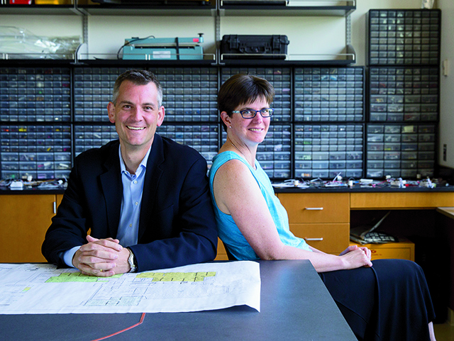 Professor Andrew Guswa, a civil and environmental engineer, and Professor Susan Voss, an electrical engineer, are two of the original engineering faculty members.