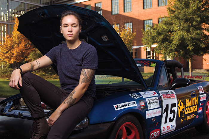 Gracie Hackenberg '18 poses with her race car