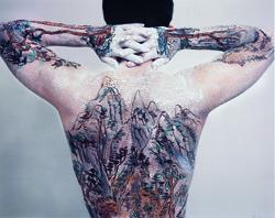 Chinese  Shan-shui Tattoo, 1999, by Huang Yan. C-print.