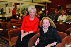 President Carol Christ, left, and Helen Gurley Brown