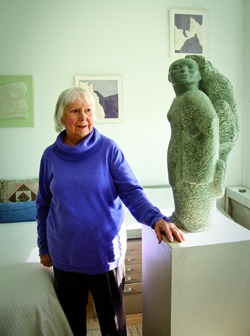Borgatta with one of her scupltures