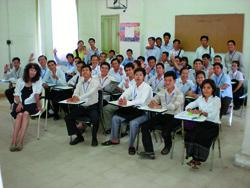 Debra Carney and her class of Cambodian teachers.