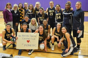 The BSCC supporting the Smith Pioneer Basketball Team at their game vs. Emerson College, January 2015
